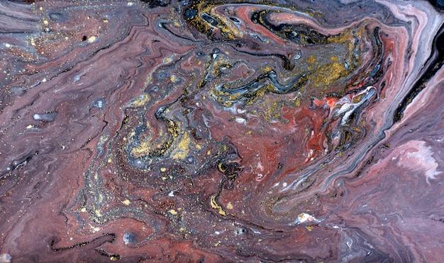 ゴールド、ブロンズ、黒霜降りの背景。黄金の大理石の液体テクスチャ。