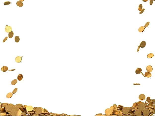 Округлые золотые монеты с символом доллара.