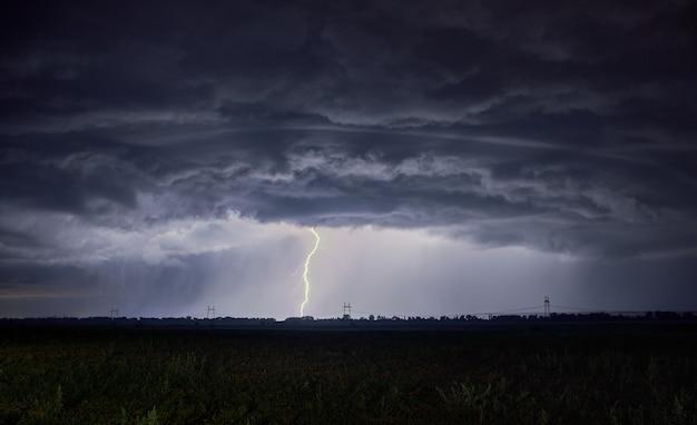 地面に非現実的に厚い雲と落雷