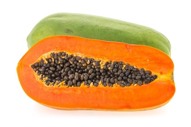 オレンジ色の果実パパイヤ、白、背景