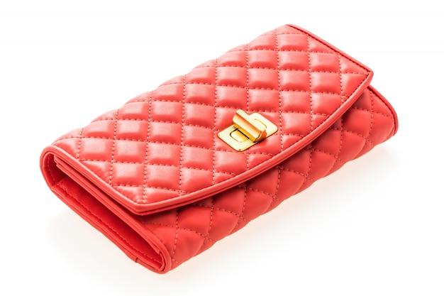 レッドレザーの女性の財布
