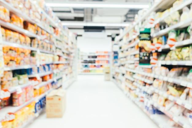 抽象的なぼかしとデフォーカスされたスーパーマーケット
