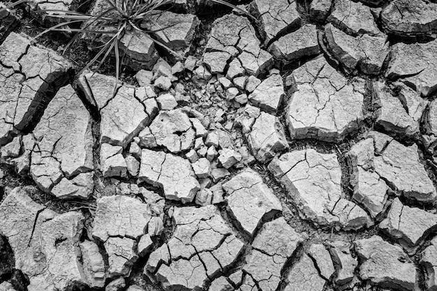 干ばつの季節に乾燥して壊れた粘土地盤、地球温暖化問題の概念。