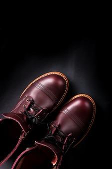 Модные мужские кожаные коричневые туфли