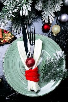 Рождественская сервировка. праздничный ужин.
