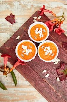 かぼちゃのスープまたはスフレのクリーム。感謝祭。