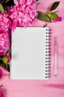 Красивые розовые цветы пиона с примечанием,