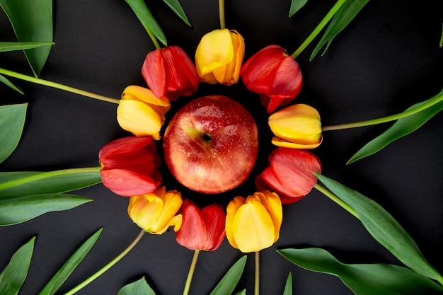 周りに赤と黄色のチューリップとリンゴ。