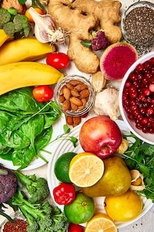 天然物、果物や野菜、上面図