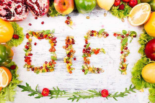 Слово диета состоит из фруктов и овощей.