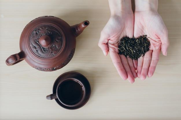 女性は彼女の手で緑茶を保持します