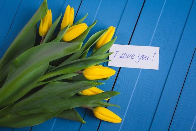 黄色のチューリップの花束