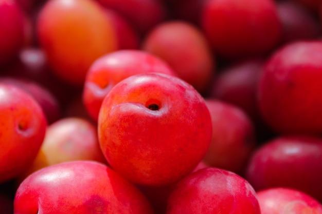 熟したプラムフルーツの背景