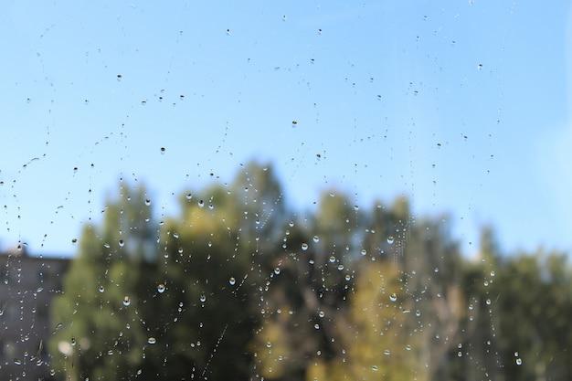 水滴。蒸し窓に水滴のクローズアップ