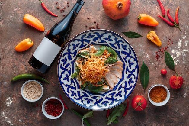 Узбекский шашлык и салат