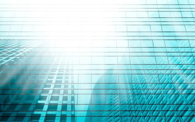 光のターコイズブルーの超高層ビルの反射視点背景。