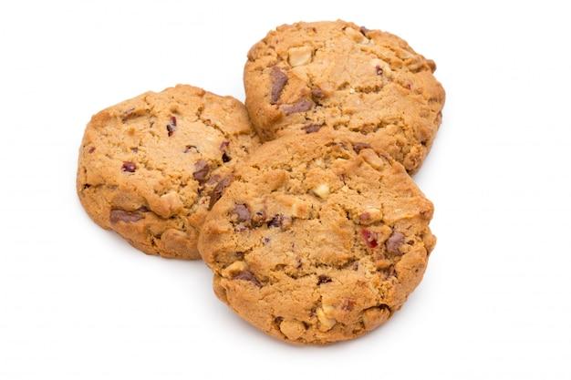Печенье обломока шоколада изолированное на белизне.