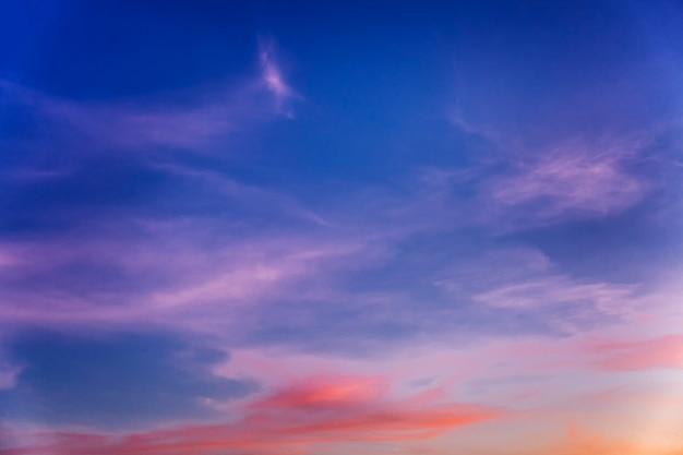 美しい青ピンクの夕焼け前の空。テキストのためのスペース。