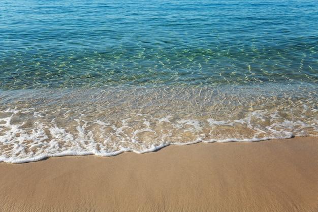Бирюзовая поверхность моря на песчаном берегу. крупный план. стены. пространство для текста.