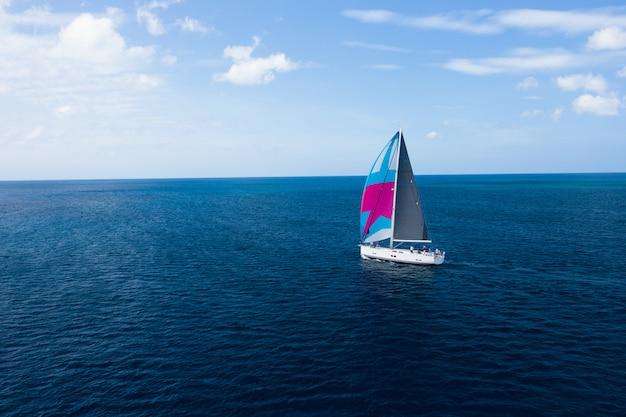海とボートの空中写真。