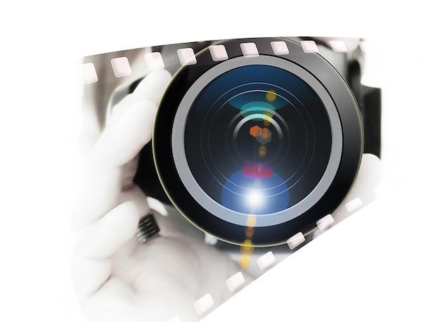 デジタルカメラマンのレンズのカメラの手