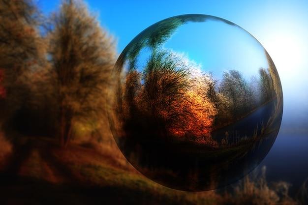 木の秋の風景ボールガラスのミラーリング