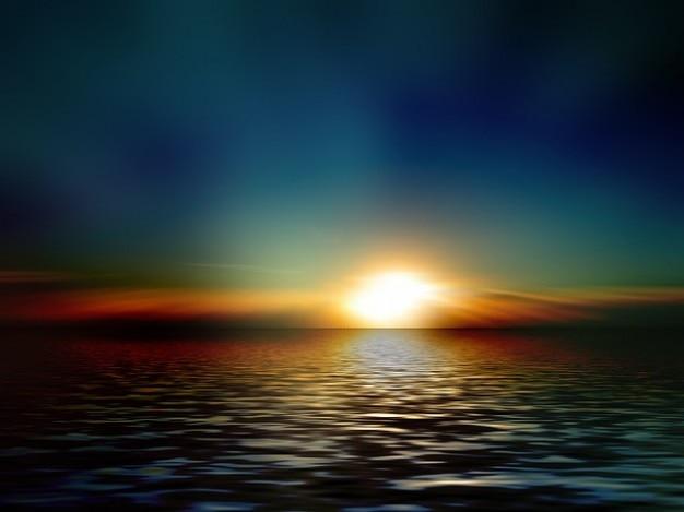 水道代の夜の波の空は光をミラーリング