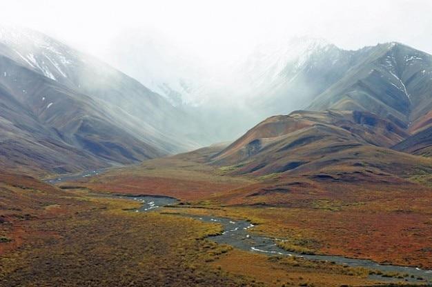 ストリーム山は荒野アラスカのツンドラ