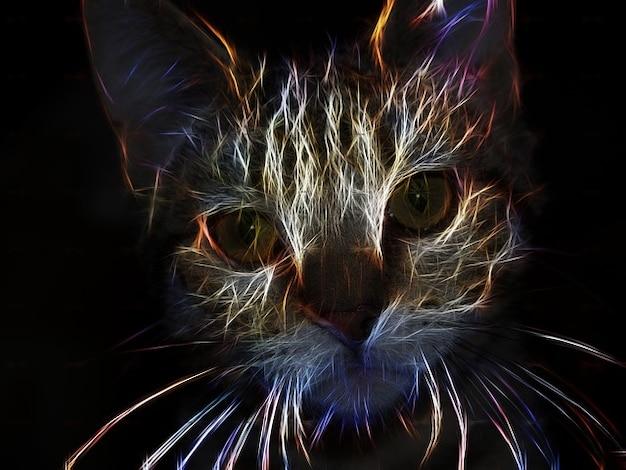 フラクタル猫動物猫科の肖像画の頭の芸術