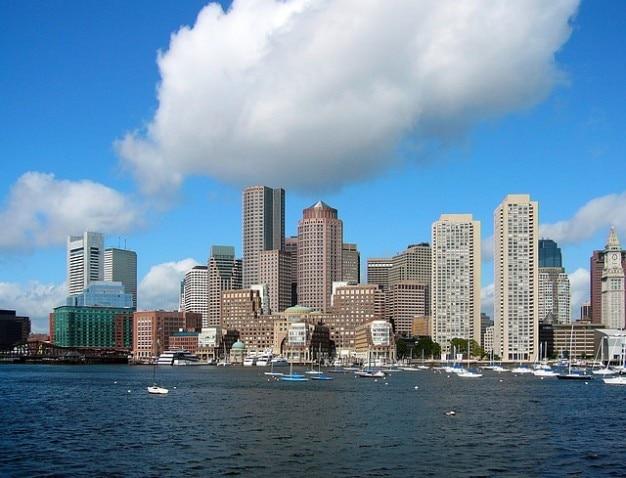Бостон горизонта массачусетс городских зданий