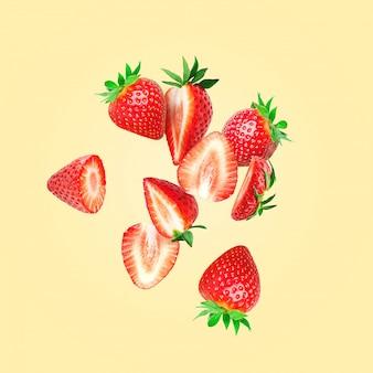 イチゴの組成。イチゴを空中を飛ぶように切る