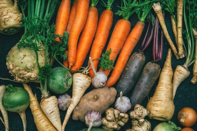 根菜、ニンジン、パセリの根、カブ、タマネギ、ニンニク、キクイモ、西洋わさび。根作物の背景。