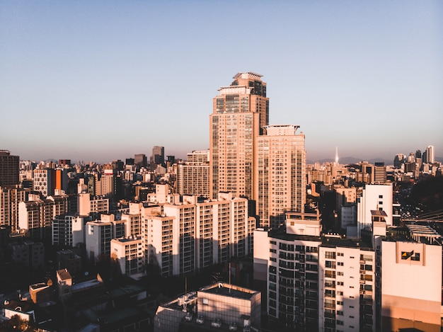 日没の高層ビル。ソウル、韓国
