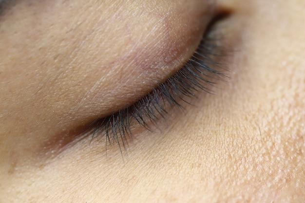 Тело часть глаз ресницы кожа крупным планом женщина