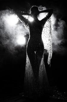 アジアの日焼けした肌スリムなセクシーな女性は、バックライトの煙でイブニングドレスを見る