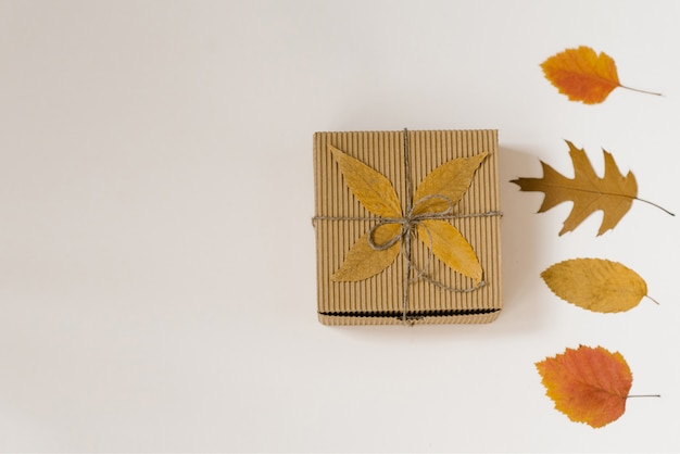 Подарочная коробка ручной работы, перевязанная ниткой с бантиком и осенними опавшими листьями. желтые и красные листья. осенние покупки со скидками.