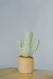 Мягкий декоративный кактус в горшке