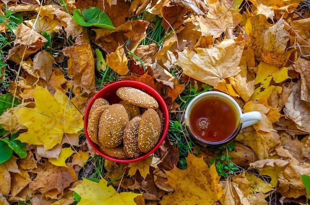 おいしいオートミールクッキーがプレートにあります。森の秋のピクニック。
