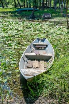 村の海岸に係留された木製の漁船。