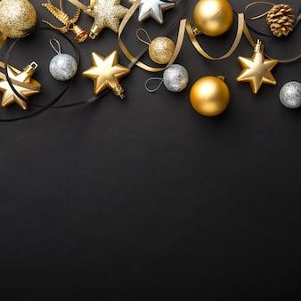 ブラックゴールデンシルバークリスマスデコ