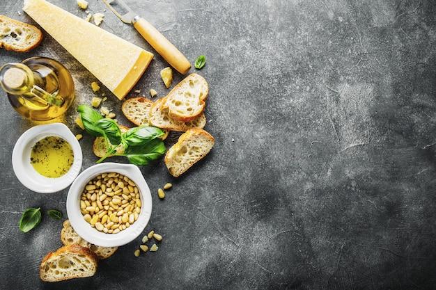 ペストとチャバタのパンのための原料
