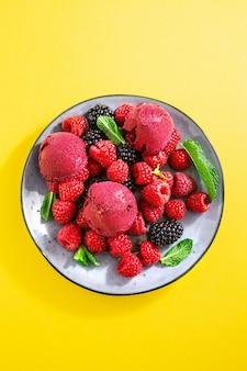 皿の上の果実のさわやかなアイスクリームスクープ