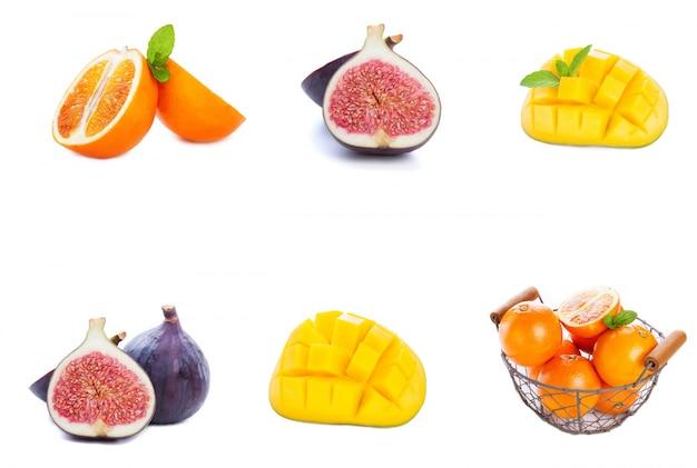 一列に配置された別の果物