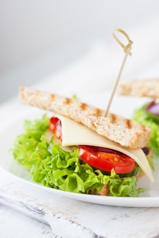 Колбаса застрял на палочке с помидорами и листьями салата