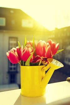 屋外で花の花束花瓶ロマンス