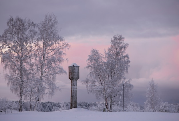 ラトビア、クリムルダの冬の朝の風景