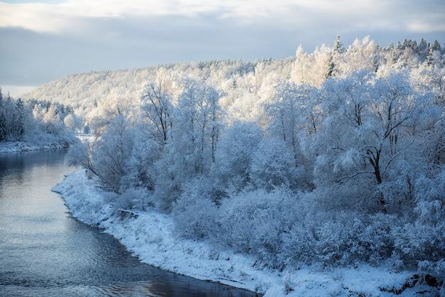ラトビア、スィグルダの雪に覆われた冬の朝の風景