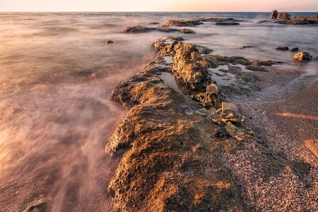 長時間露光の海洋波
