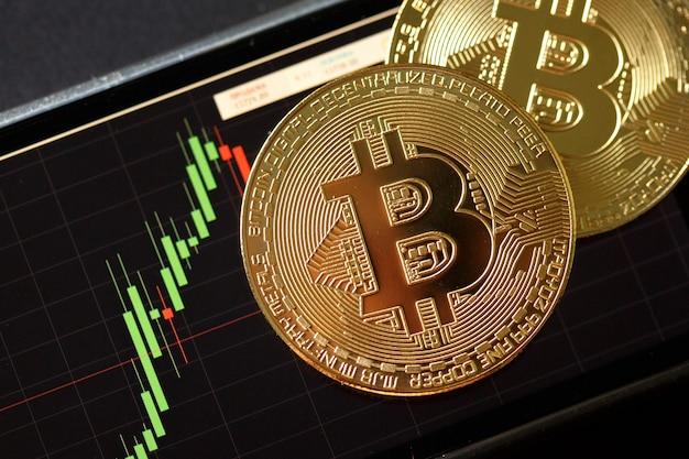 Биткойн золотая монета и диаграмма фон.