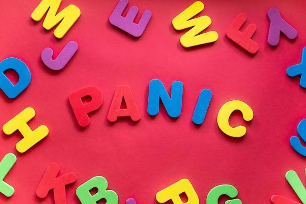Слово паника из пластиковых магнитных букв на красном фоне
